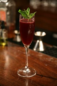 The Angel Eyes uses Ronsangel hibiscus infused tequila and the vintage liqueur Creme de Violette.