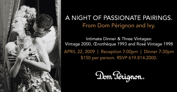 The Ivy Hotel in San Diego is presenting a luxurious Dom Perignon dinner on April 22. Three vintages will be paired with seasonal cuisine by Executive Chef Nathan Coulon.
