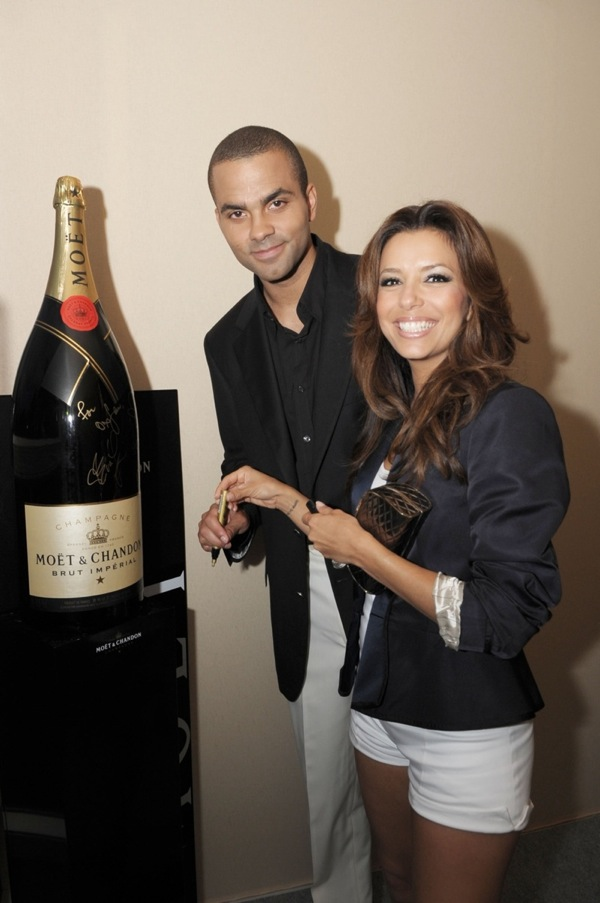 Eva Longoria and Tony Parker were among the celebrities at Cannes 2009 who signed a 15 liter bottle of champagne to be auctioned for charity. (Courtesy photo)