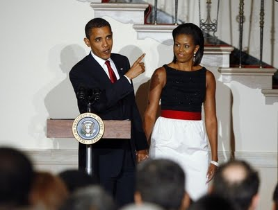 Barack and Michele Obama at the White House Ambassador's Reception on July 27. (Photo via AP)