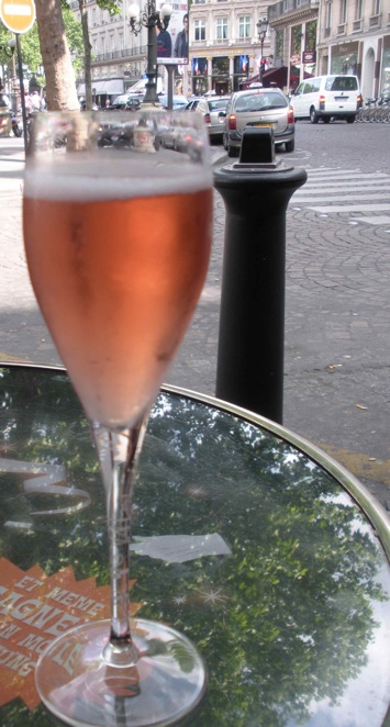 I cannot believe I paid 12 euro for this teensy tiny Kir Royale at a cafe near the Louvre Museum. I savored every drop. (Photo by Maria C. Hunt)