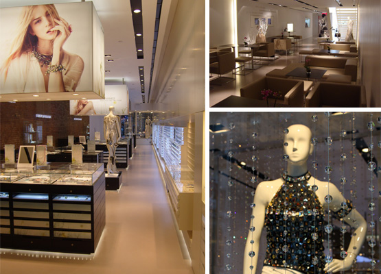The Crystallized boutique in Soho features oodles of Swarovski crystals, a stunning waterfall chandelier and a lounge serving champagne and food. (Courtesy Photo)