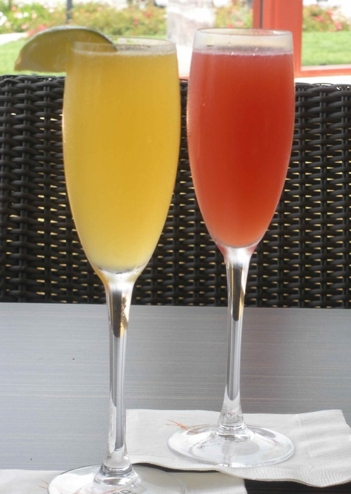 The Mango Ginger Fizz and a Blood Orange Mimosa are two of the cocktails featured at Sparkling Sundays at the Sheraton Carlsbad Resort & Spa. (Photo by Maria C. Hunt)