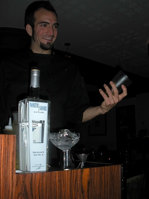 Charles Joly, head mixologist of the Drawing Room, explained the story behind the Aviation cocktail. (Photo by Maria Hunt)
