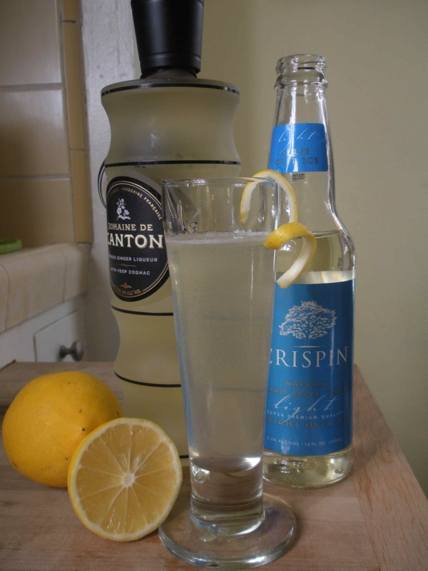 The Winter Shandy features Crispin hard cider, Domaine de Canton Ginger Liqueur and Meyer lemonade.