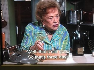 In a video at the Smithsonian Museum, Julia Child explains that a champagne stopper or bouch kept her Dom Perignon bubbly three days after opening.
