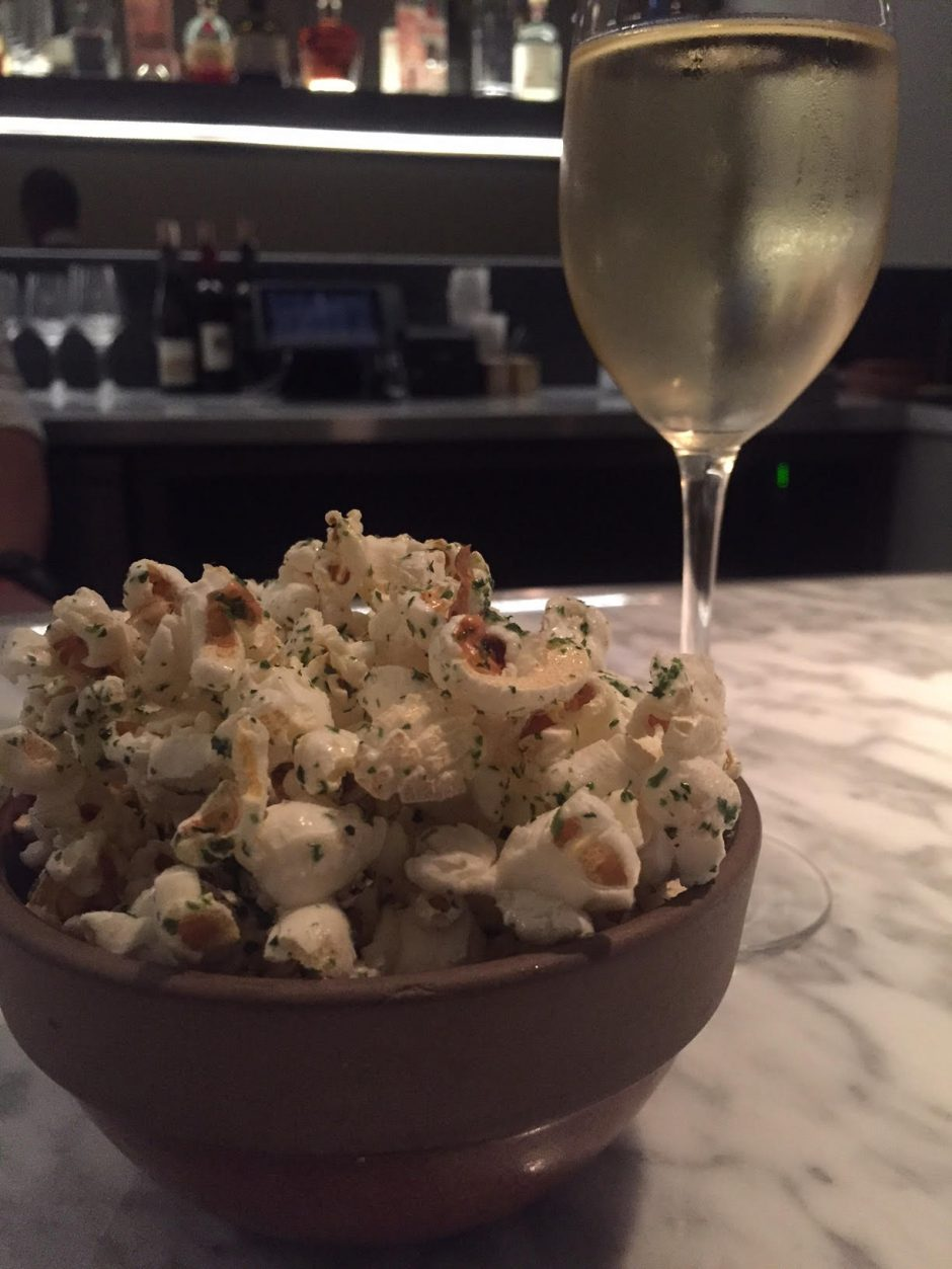 popcorn and sparkling wine