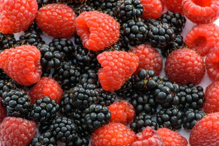 raspberries and blackberries